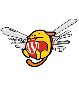 Wapuu with a Swiss Army Knife backpack.
