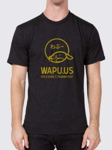 Yellow Wapu.us logo on gray t-shirt