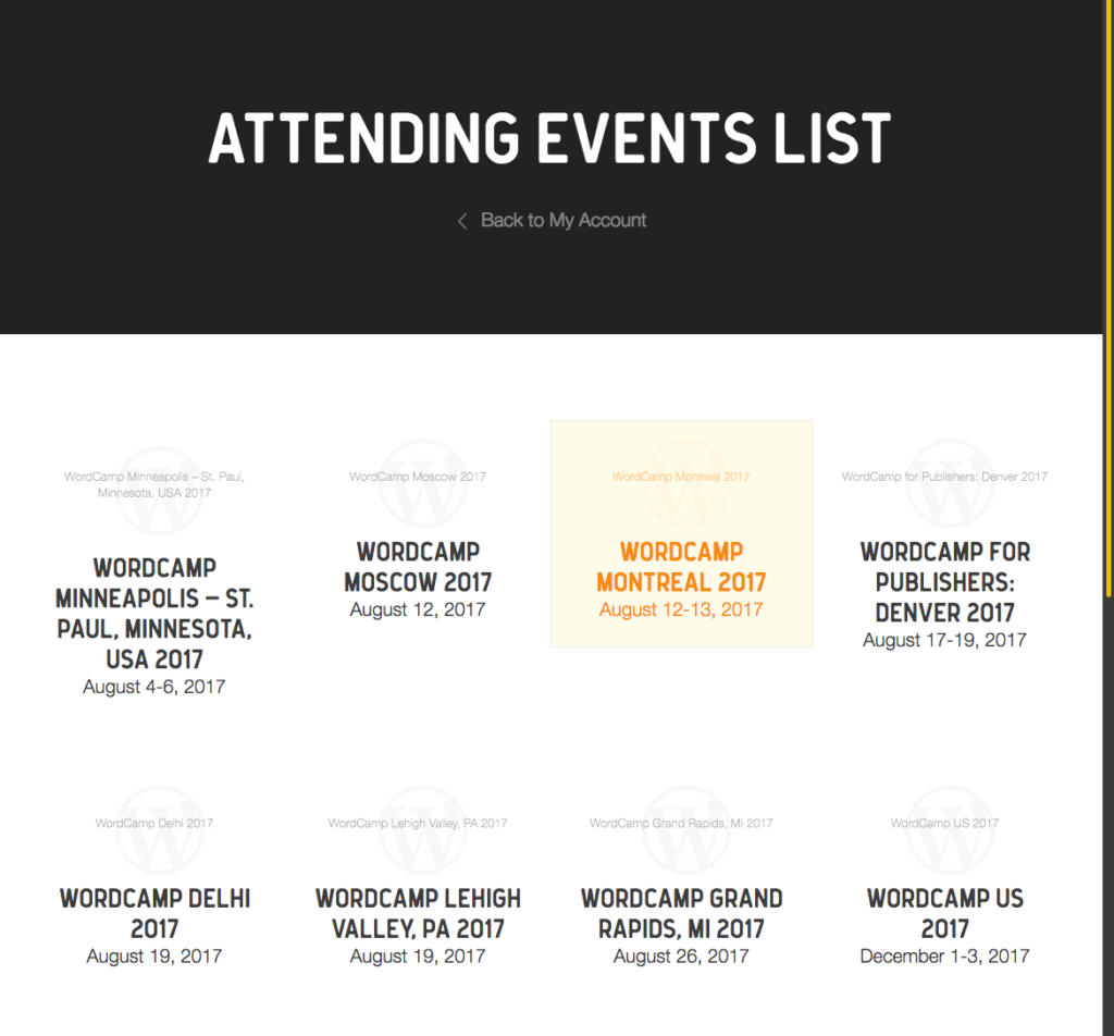List of attending events.