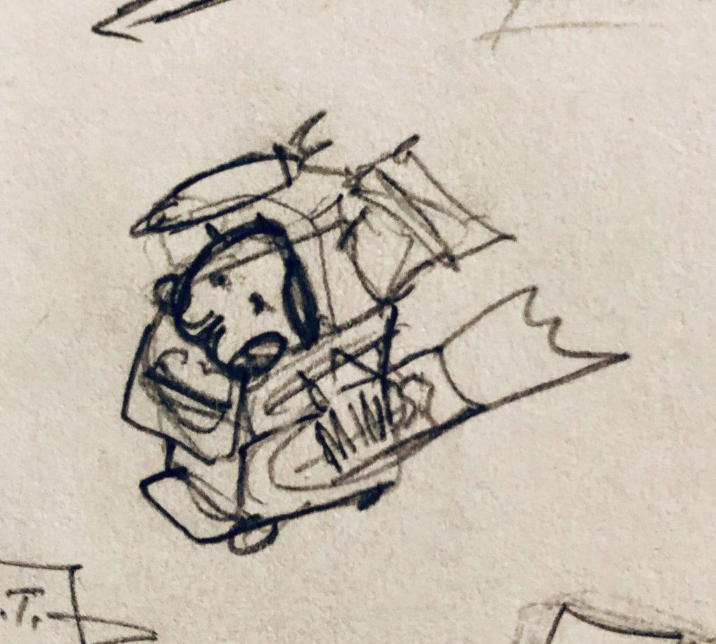 Wapuu in a Shopping cart sketch top angle